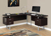 "71"" Cappuccino Left/Right Facing Corner Desk w/ Drawers"