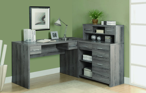 L Shaped Corner Office Desk With Storage In Dark Taupe