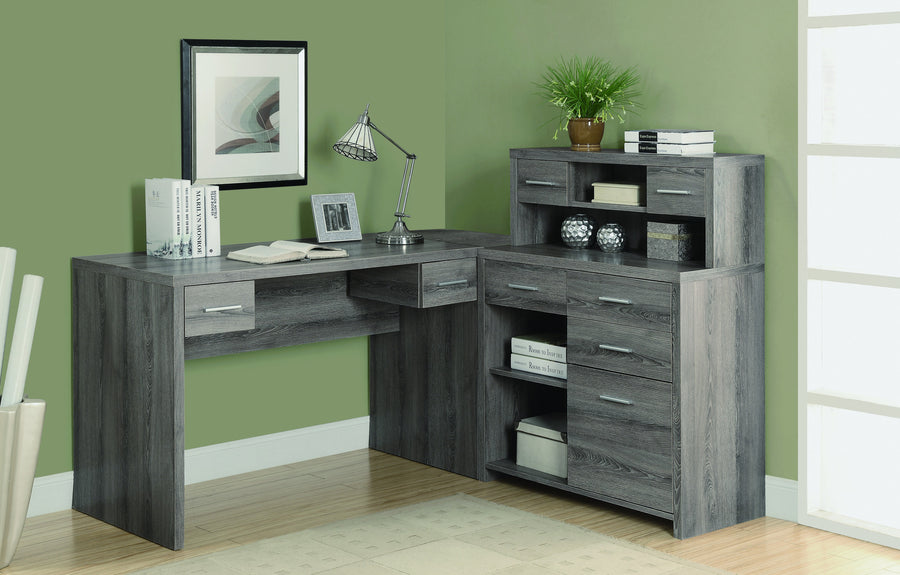 L Shaped Corner Office Desk With Storage In Dark Taupe Reclaimed Finish