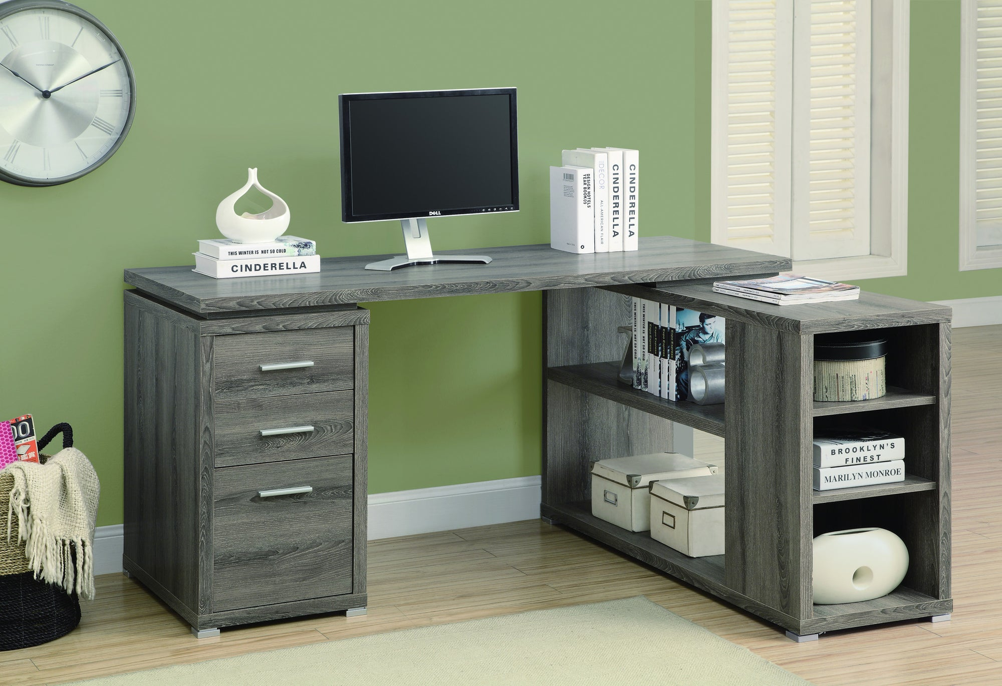 Corner l shaped office desk with storage in dark taupe reclaimed finish