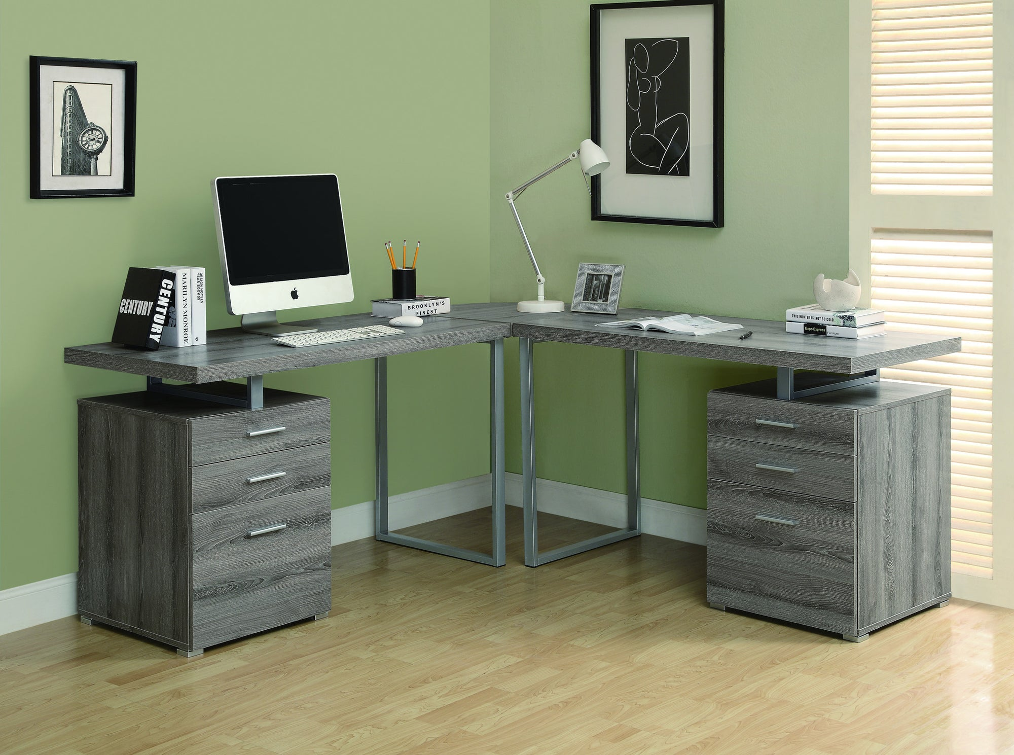L Shaped Double Pedestal Office Desk In Dark Taupe Reclaimed Finish