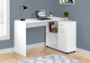 "46"" White Compact L-Shaped Office Desk"