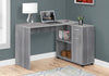 "46"" Grey Compact L-Shaped Office Desk"