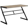 "Z-Shaped Modern Taupe & Black Metal 48"" Computer Desk"