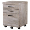 Trendy 3-Drawer Filing Cabinet in Taupe Woodgrain Finish
