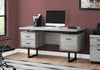 Trendy Grey Wood Grain Office Desk w/ Black Metal Accents