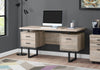 Trendy Taupe Wood Grain Office Desk w/ Black Metal Accents