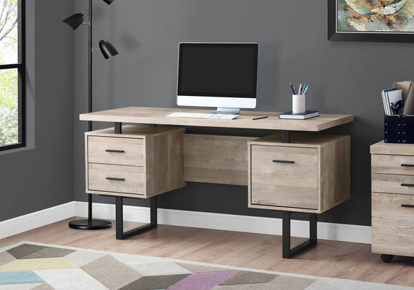 Trendy Taupe Wood Grain Office Desk W Black Metal Accents