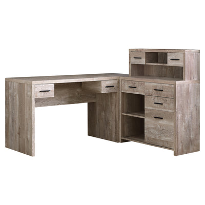 "63"" Taupe Woodgrain L-Shaped Office Desk & Storage Area in One"