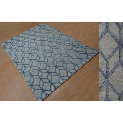 Blue & Grey 5 x 8 Diamond-Patterned Rug