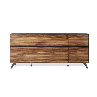 "Modern 73"" Storage Credenza in Zebrano Wood Finish"