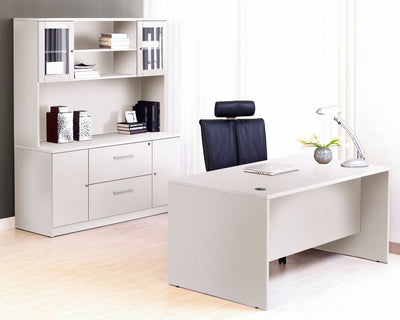 Premium White Executive Desk with Credenza & Hutch
