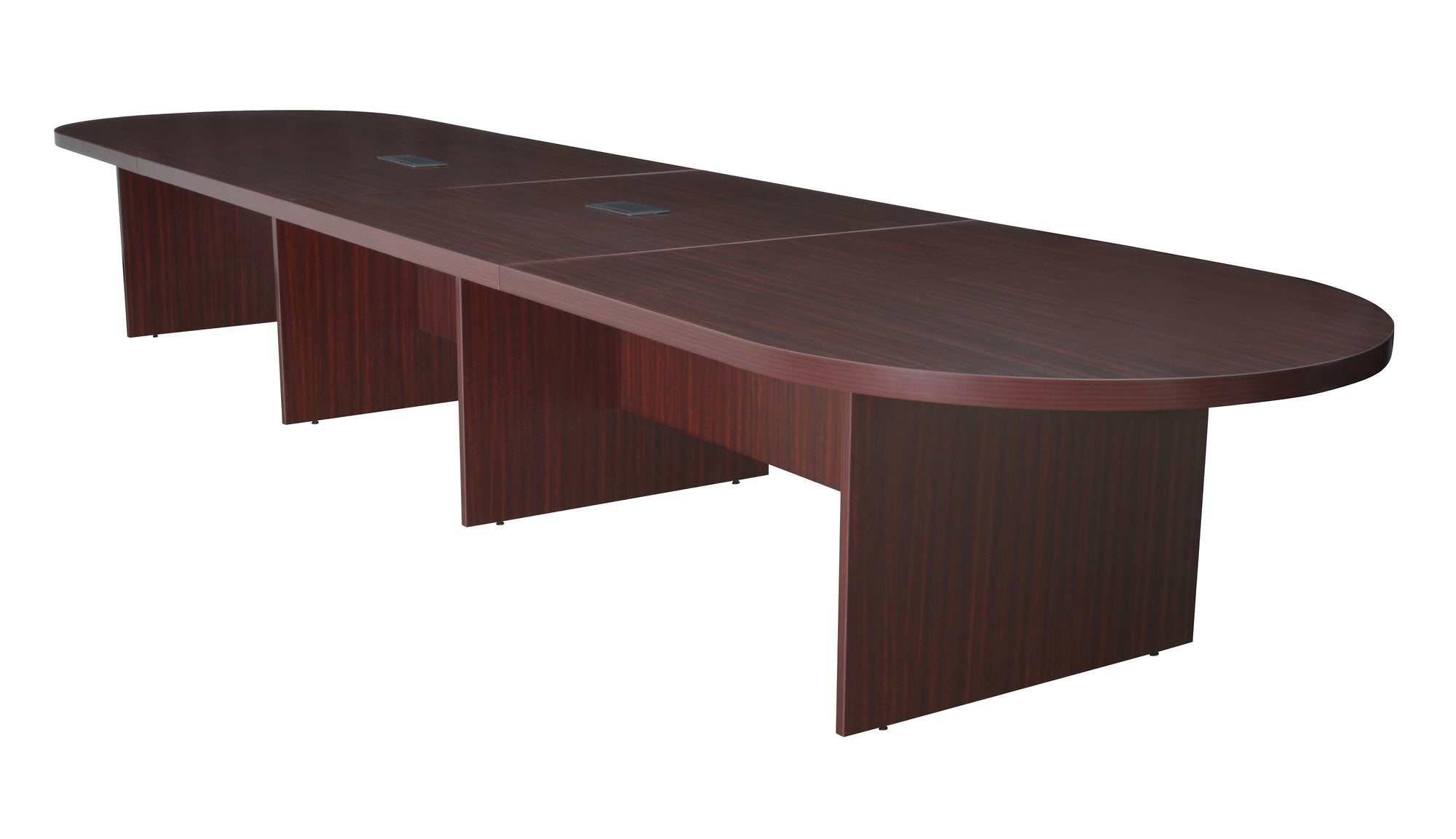 Mahogany Modular Conference Table With Power Data Grommets - 12 foot conference table with data ports