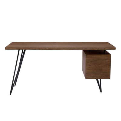 "64"" Modern Desk with Solid Acacia Top & Iron Legs"