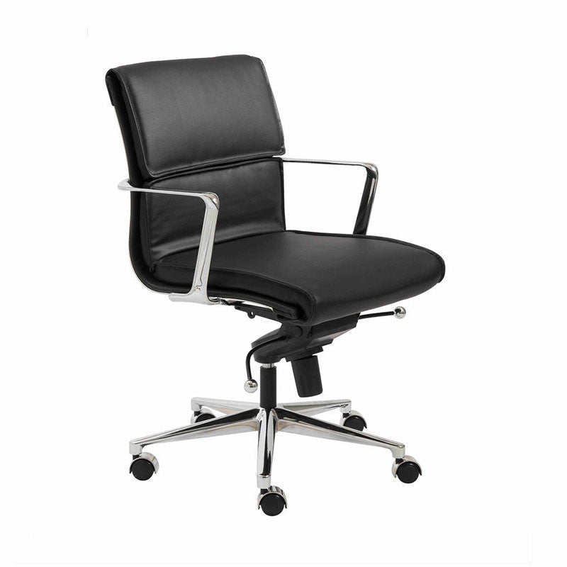 Premium Low Back Black Leather & Chrome Office Chair