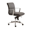 Premium Low Back Gray Leather & Chrome Office Chair