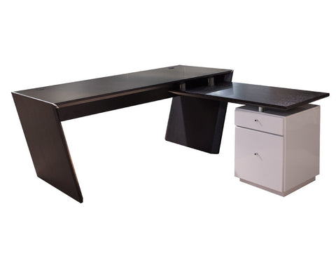 Modern L-Shaped Office Desk in Wenge & Gray Lacquer with Optional Credenza