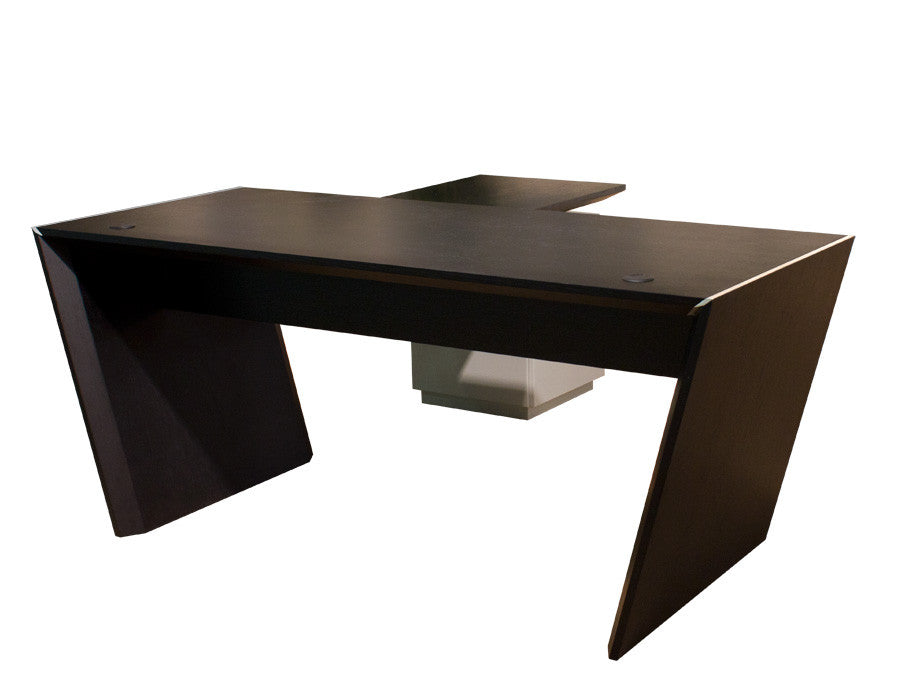 Modern L Shaped Office Desk In Wenge U0026 Gray Lacquer With Optional Credenza