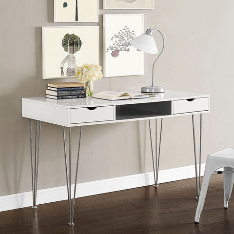 "Sleek 48"" Modern White Office Desk with Gray Accents"