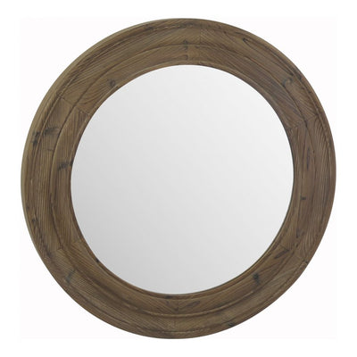 Round Porthole-Style Mirror of Fir Wood