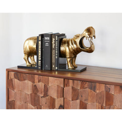 Shining Gold Hippo Bookends