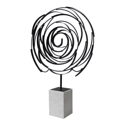 Classic Spiral Iron & White Marble Sculpture Office Decor