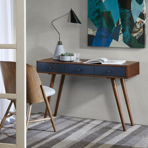 "Sleek 48"" Navy & Pecan Three-Drawer Writing Desk"