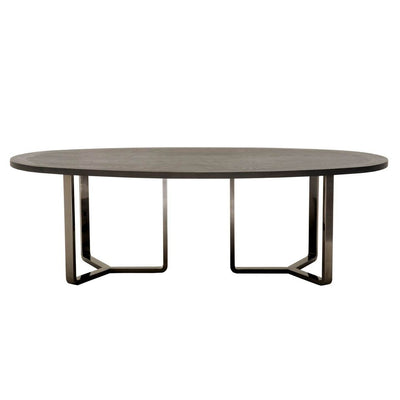 "94"" Black-Washed Oak Oval Conference Table"