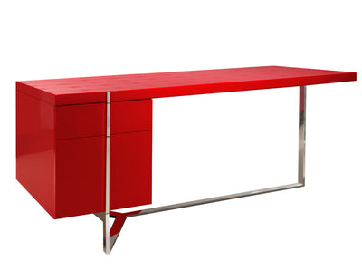 "Red Crocodile Lacquer & Stainless Steel 67"" Executive Desk with Optional Credenza"