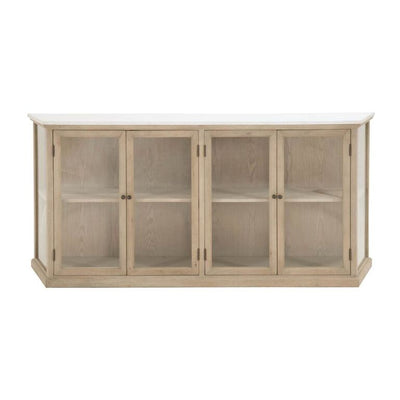 Classic Oak Storage Credenza With Glass Display Doors