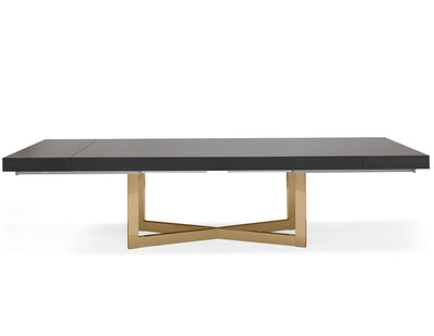 "Modern 84 - 123"" High Gloss Gray Oak Conference Table with Gold Base"