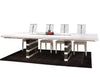 White Lacquer Conference Table with Inlaid Glass & Gray Mirrored Legs