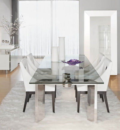 "78 -110"" Gorgeous Extension Conference Table With Clear Glass Top"