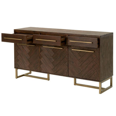 Contemporary Rustic Brown Storage Credenza