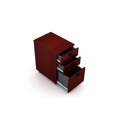 3-Drawer Mahogany Mobile File Cabinet