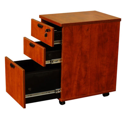 3-Drawer Cherry Mobile File Cabinet