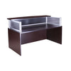 Modern Mahogany Reception Desk w/ Plexiglass Privacy Barrier