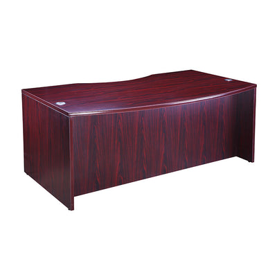 "71"" Sleek Mahogany Bow Front Office Desk"