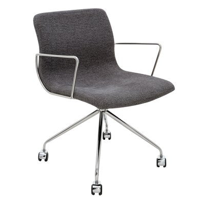 Alta Modern Chair with Armrests & Casters in Black or Grey