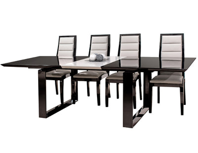 "Modern Black Lacquer Conference Table with Gray Lacquer Extension (80"" W to 100"" W)"