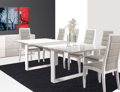 "Modern White Lacquer Conference Table with Gray Lacquer Extension (80"" W to 100"" W)"