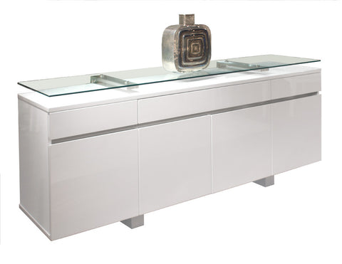 "80"" White Lacquer Modern Credenza with Floating Glass Top"