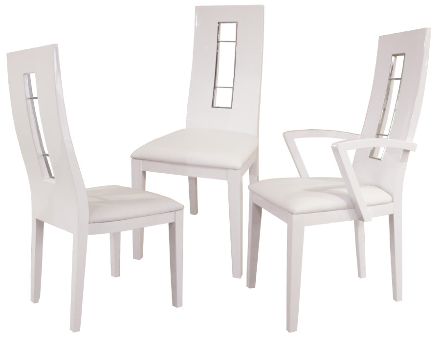 Unique White Lacquer U0026 White Leather Armless Conference Chair (Set Of ...
