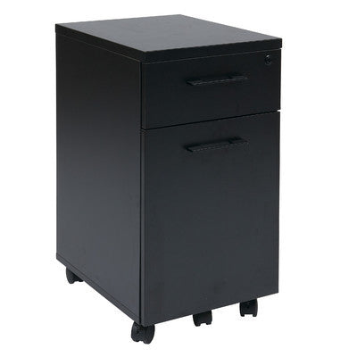Black Modern Mobile File Cabinet with Lock