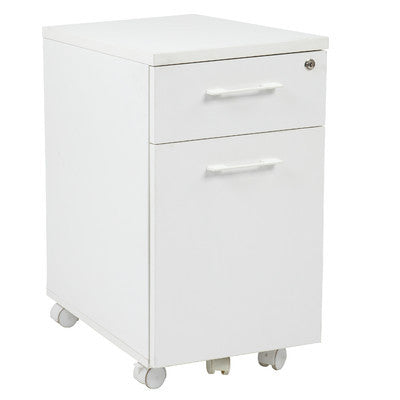 White Modern Mobile File Cabinet with Lock