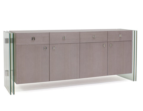"79"" Modern Credenza in Light Brown with Chrome Accents"