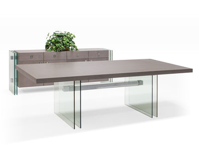"Modern 94"" Conference Table with Glass Legs & Stainless Accents"