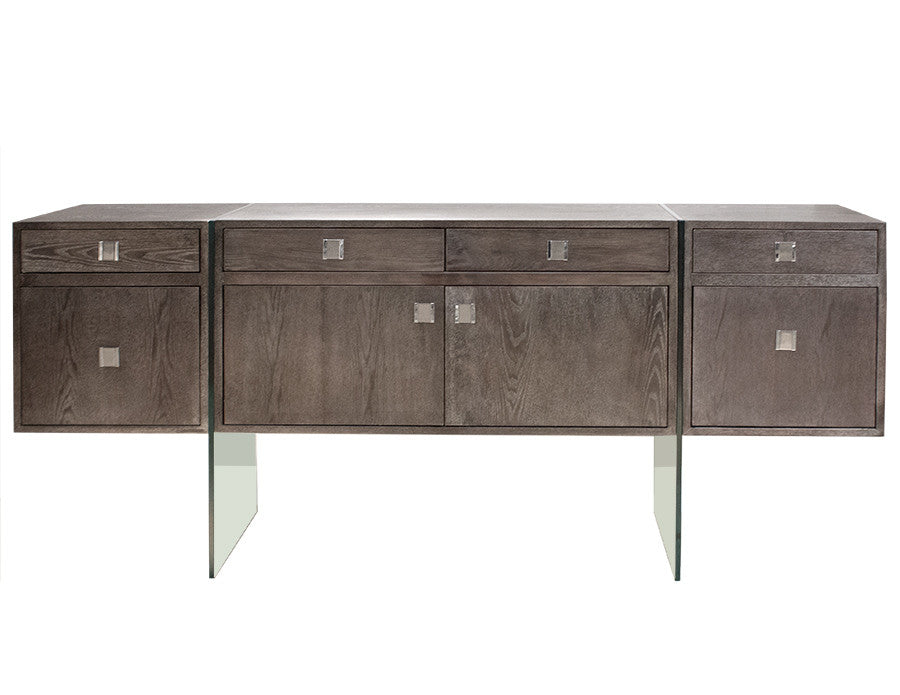 "72"" Modern Walnut Credenza with Glass Legs & Two File Drawers"