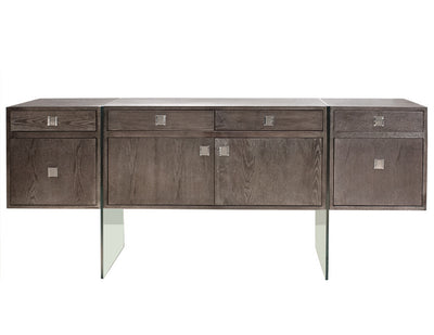 "72"" Modern Washed Gray Credenza with Glass Legs & Two File Drawers"