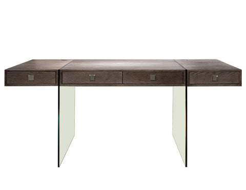 Elegant Modern Walnut Office Desk with Clear Glass Legs